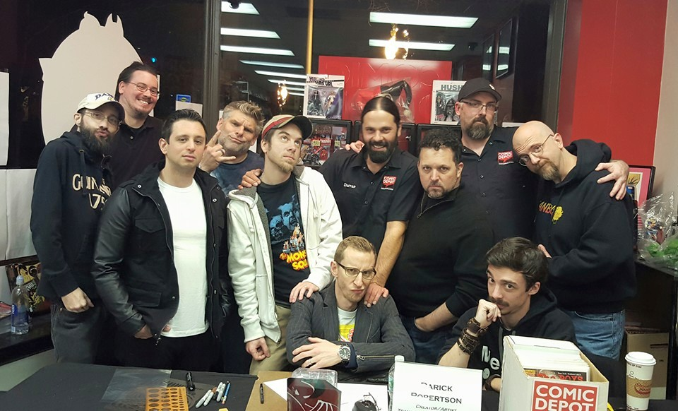 Fun times at Darick Roberston signing at The Comics Depot with regular customers, Comic Depot crew, and comic talents such as Steve Orlando, Paul Harding, Richard Clark and Darick Robertson.